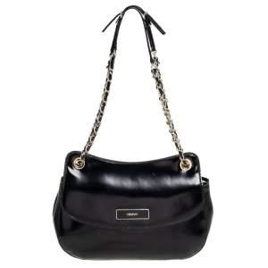 DKNY Black Faux Leather Flap Chain Shoulder Bag