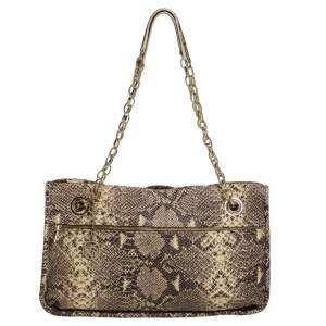 DKNY Beige/Black Snakeskin Embossed Leather  Chain Shoulder Bag