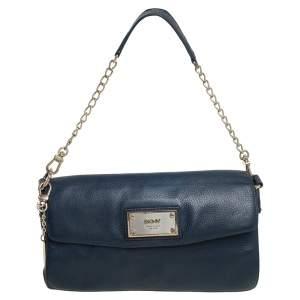 DKNY Blue Leather Flap Chain Shoulder Bag
