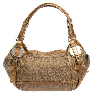 DKNY Gold/Beige Signature Fabric and Leather Satchel