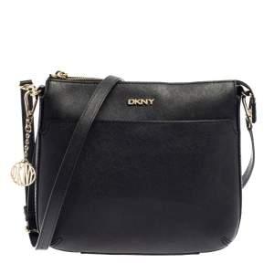 Dkny Black Leather Top Zip Shoulder Bag