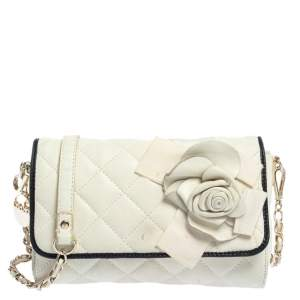 Dkny Off White Quilted Leather Floral Applique Flap Chain Bag