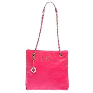 DKNY Hot Pink Ostrich Embossed Leather Chain Shoulder Bag