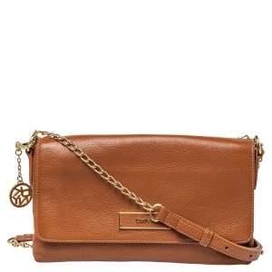 Dkny Brown Leather Bryant Park Flap Crossbody Bag