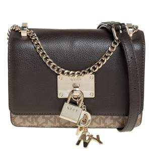 Dkny Brown/Beige Signature Coated Canvas and Leather Small  Elisa Crossbody Bag
