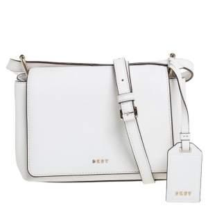 DKNY White Leather Logo Flap Crossbody Bag