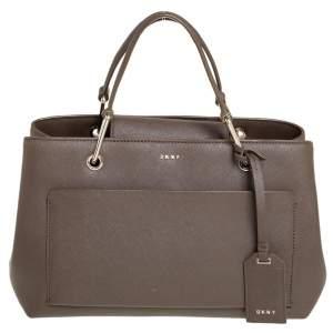 DKNY Brown Leather Bryant Park Front Pocket Satchel
