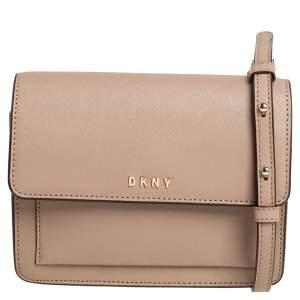 DKNY Beige Leather Flap Chain Crossbody Bag