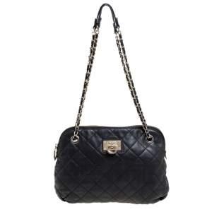 Dkny Black Quilted Leather Dome Shoulder Bag