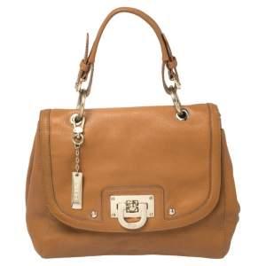 Dkny Tan Leather Flap Top Handle Bag