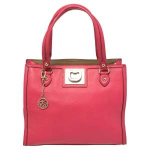 DKNY Hot Pink Leather Middle Zip Tote