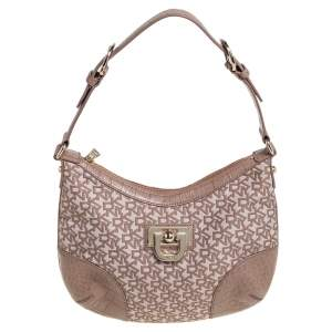 Dkny Beige Signature Canvas and Croc Embossed Leather Hobo