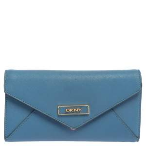 DKNY Blue/Pink Leather Long Trifold Wallet