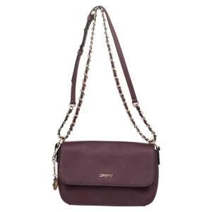 DKNY Brown Leather Flap Shoulder Bag