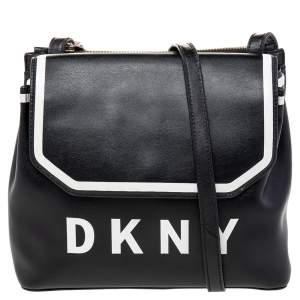 DKNY Black/White Leather Logo Embellished Shoulder Bag