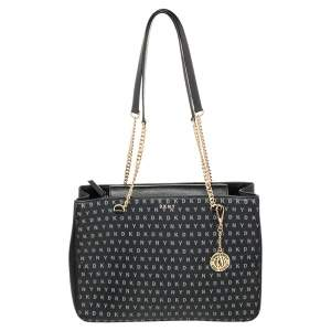 DKNY Black Signature Leather Chain Tote