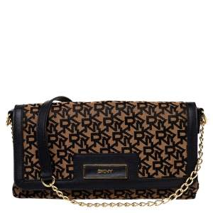 Dkny Brown Signature Canvas And Leather Chain Shoulder Bag