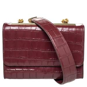 DKNY Burgundy Croc Embossed Leather Small Chain Shoulder Bag