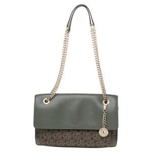 Dkny Green/Brown Signature Coated Canvas and Leather Flap Chain Bag