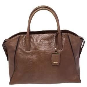 DKNY Brown Croc Embossed Leather Chelsea Satchel