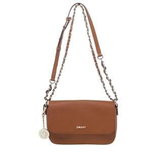 DKNY Brown Saffiano Leather Bryant Park Crossbody Bag