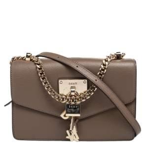 DKNY Dark Beige Leather Padlock Flap Shoulder Bag