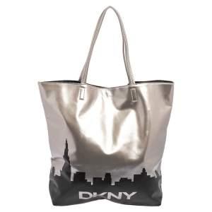 DKNY Silver/Black Faux Leather Shopper Tote