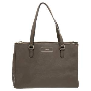 Dkny Brown Leather Double Zip Satchel