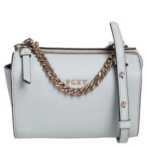Dkny Grey Leather Chain Crossbody Bag
