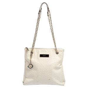 DKNY Ivory Ostrich Embossed Leather Top Zip Chain Shoulder Bag