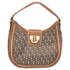 DKNY Brown Signature Canvas and Leather Trim Buckle Hobo
