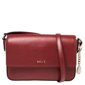 DKNY Red Leather Bryant Flap Crossbody Bag