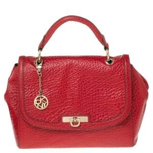DKNY Red Textured Leather Flap Top Handle Bag