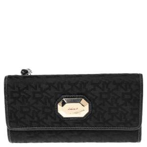 DKNY Black Signature Canvas and Leather Continental Wallet