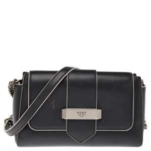 Dkny Black Leather Val Flap Shoulder Bag