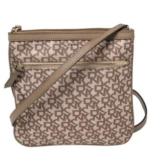 Dkny Beige/Brown Signature Nylon and Leather Crossbody Bag