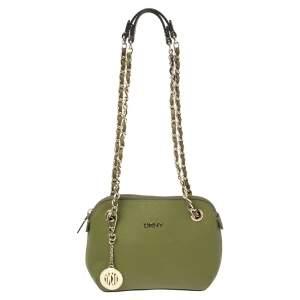 DKNY Green Leather Bryant Chain Shoulder Bag
