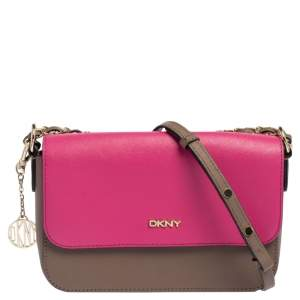 DKNY Pink/Brown Leather Flap Shoulder Bag
