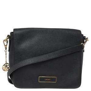 DKNY Black Leather Flap Shoulder Bag