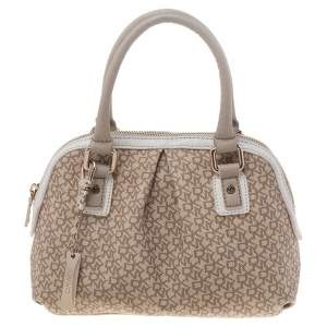 Dkny Beige/White Signature Coated Canvas and Leather Dome Satchel