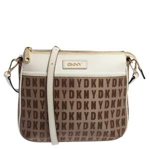DKNY White/Beige Signature Fabric and Leather Shoulder Bag