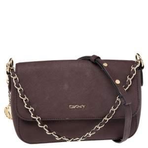 DKNY Burgundy Leather Bryant Park Flap Shoulder Bag