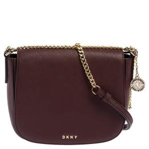 Dkny Burgundy Leather Flap Saddle Chain Shoulder Bag
