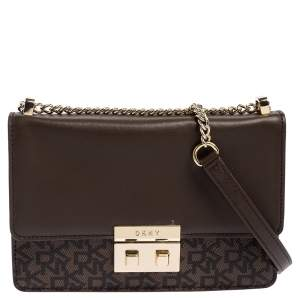 Dkny Brown Signature Coated Canvas and Leather Chain Crossbody Bag