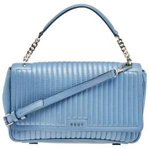 حقيبة يد توتس دي كي إن واي غانسيفورت جلد مبطن أزرق فاتح بيد علوية