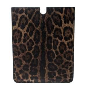 Dolce & Gabbana Brown Leopard Print Coated Canvas Ipad Case