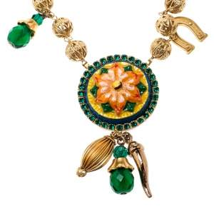 Dolce & Gabbana Multicolor Crystal Gold Tone Filigree Beaded Charm Necklace