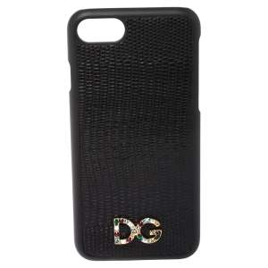 Dolce & Gabbana Black Lizard Embossed Leather iPhone 7 Case