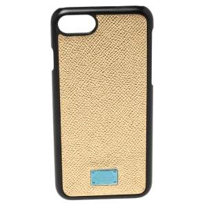 Dolce & Gabbana Metallic Gold Leather iPhone 7 Cover