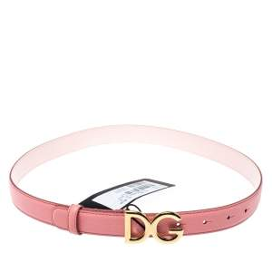 Dolce & Gabbana Pink Leather DG Buckle Belt 75 CM